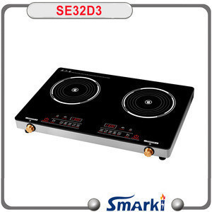 Built in temper glass double induction cooker 2 burner induction hob two coil Induction cooker 3200W SE32D3