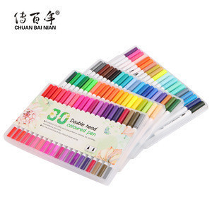 China Factory Directly Sales 80 Assorted Colors Art Markers Dual Twin Tip Water Color Brush Fineliner Pen for Drawing