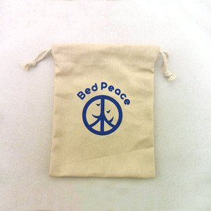 Custom printed drawstring brushed cotton twill pouch bag