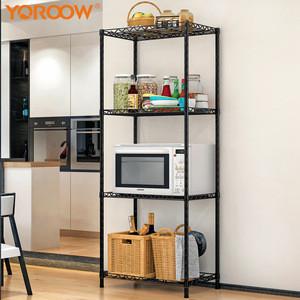 Kitchen accessories home unit  racks storage shelves heavy duty 4 tier storage holders adjustable chrome metal kitchen rack