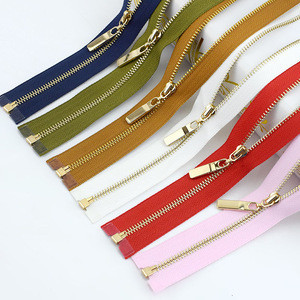 Meetee AP391 Gold Teeth Long Zip Closure for Sewing Bags Down Jacket Skirt Clothing Accessories Metal Open End Zippers