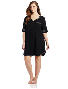 OEM 2015 wholesale Womens Plus-Size embroidered Contrast stitching sleepwear Henley long wholesale nightshpolyester Nightshirt