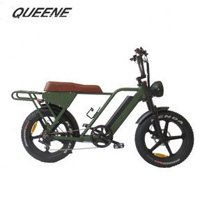 QUEENE/ebike 750W rear hub motor Retro full suspension fat tire electric bicycle