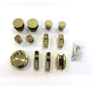 Stainless steel bathroom shower room golden color roller glass sliding door system hanging wheels