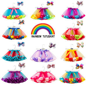 Toddler's rainbow ball gown skirt baby girls tutu skirt with bow hair accessories