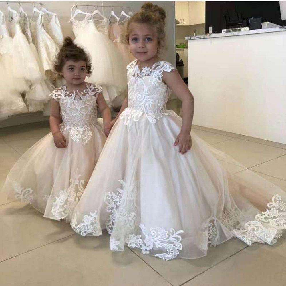 0 Cheap Latest Design Eleg Lace Applique O-Neck Sleeveless Flower Girl Dress For Kid