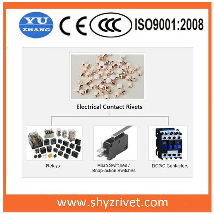 Silver  contact rivet for time controller