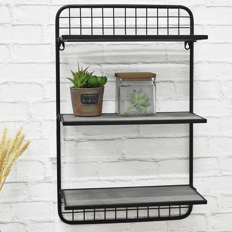 3-Tier Customized Wooden Board And Metal Frame Floating Display Wall Shelf