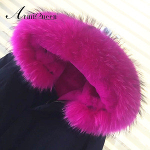 2017 factory price short style rose pink faux fur black womens short cotton parka, raccoon fur hooded ladies jacket coat