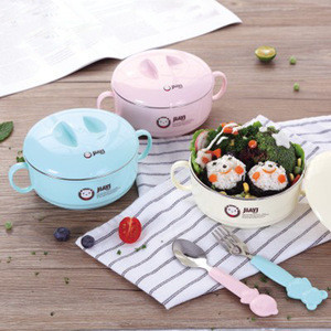 2018 new cartoon stainless steel noodle bowl for baby