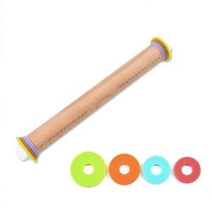Beech Wood Adjustable Rolling Pin with  Removable Rings  for Baking