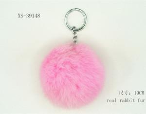 Charming real rabbit fur keychain fur ball POM POMS