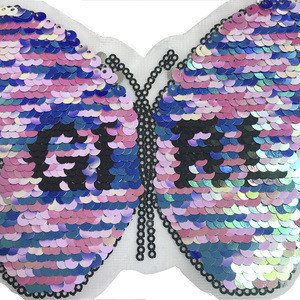 Factory Embroidery Sequin New Design Shinning Butterfly Sequin embroidery Iron on Patch Top Sale