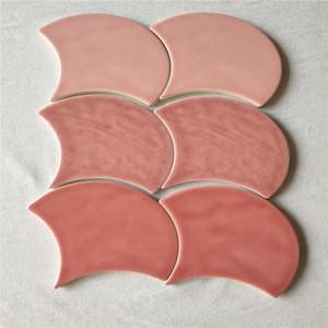 Fan-shape art tiles high quality 150*170mm super white tiiles body
