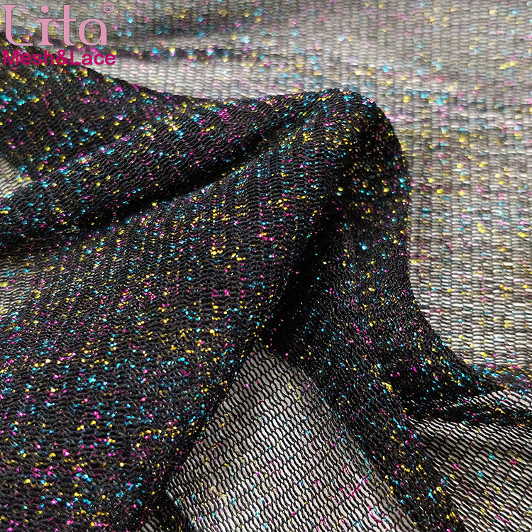 Lita J200424-1# 100% nylon high elastic  mesh fabric with colorful yarn shining tulle good quality net fabric for lady dress