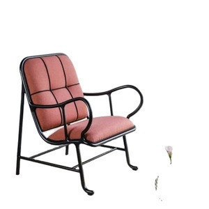Iron painting and pink fabric upolstery living room furniture chairs for sale modern leisure chair
