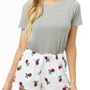 Latest women sleepwear Custom Rose Printed cotton fleece pajama shorts