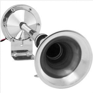 Loud 115dB Powerful Single Stainless Steel Trumpet Marine Electric Train Air Horn for Boats or RV or Trucks Chrome 12V