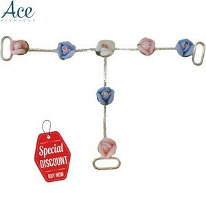 [On Sale] [In Stock] White pink blue purple ceramic flower rose t bar rhinestone buckle for swimwear shoe sandal ore lingerie
