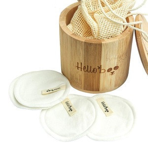 Pack of 16 Pads Bamboo Makeup Remover Pads with a Cotton Bag and Bamboo Jar