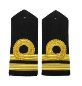 Slip on Epaulette 2 Bar Gold Pilot Epaulettes Long Soft Shoulder board slider Airline Aviation  officer dress bullion braid