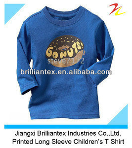 Soft Breathable Blue Printed Long Sleeve Children's Boy T Shirt