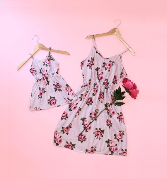 Spring Exclusive Pink Cute Mom and Baby Matching Floral Print Dress/Boho Family Look Mother & Daughter Holiday Summer Outfit