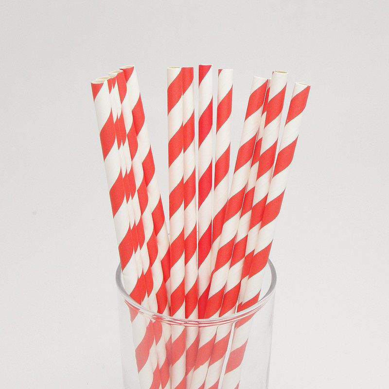 Red Striped Paper Straws Party Paper Straws