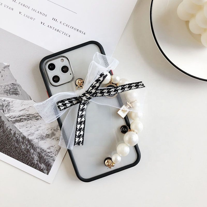 New Fashion Pendant Chain Bracelet Pearl Bow Case For iphone XS XR XS Max 7 8 Plus
