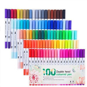 100 Colors Water Based Kid Adult Drawing Dual Tips Colorful Brush Pens Set Art Markers