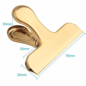 Chip Bag Clips 8 Pack Large Golden Stainless Steel Air Tight Bag Clip Perfect for Kitchen &Office (8 pack)