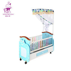 Cute Cartoon Pattern Smooth Baby Bed Wooden Frame Children Cot Movable Swing Kids Cribs With Mosquito Net