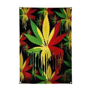 Dropship custom rasta weed flags banners hemp flags fabric polyester reggae decorations 3x5ft 90x150cm