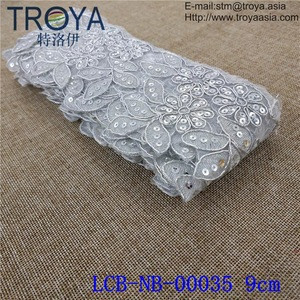 Elegant off white Chemical polyester French Floral eyelash car bone lace fabric for wedding dress