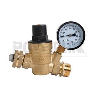 H100212 Water Regulator Valve- Lead Free Brass Adjustable RV Pressure Regulator with Pressure Gauge and Water Filter Net for Cam