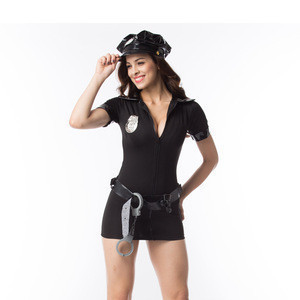 Sexy Policewomen Cosplay Costume Black Cop Uniform Outfits Police Club Game Deguisement Halloween Costumes For Adult Women