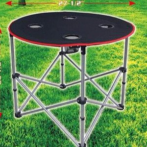 Small folding portable custom aluminum camping wholesale outdoor furniture table with cup holder