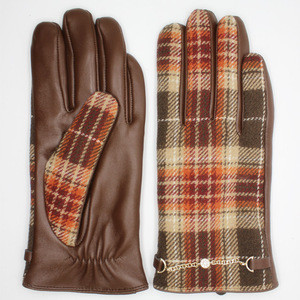 Women's back fabric and palm sheepskin leather gloves
