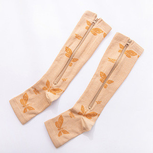 Xinzi Rain 2020 Hot Sale Cheap Zipper Sports Shape Keeping Knee High Athletic Compression Nylon Anti Slip Women Socks From China