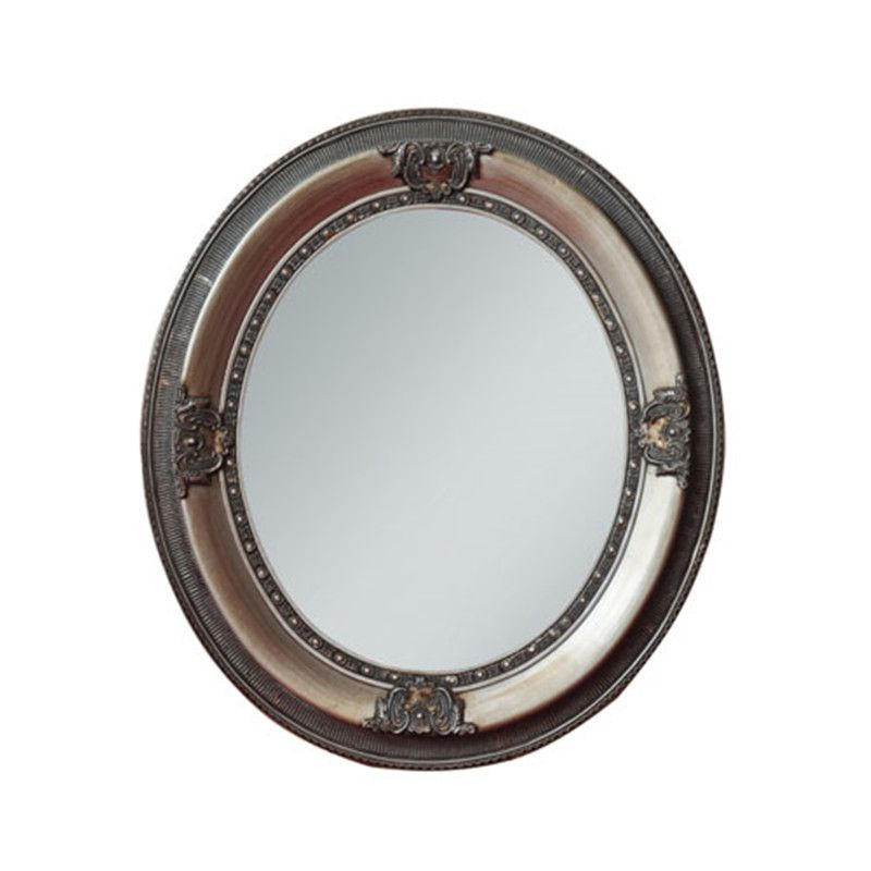 Antique Carved Round Dressing Mirror with wooden frame