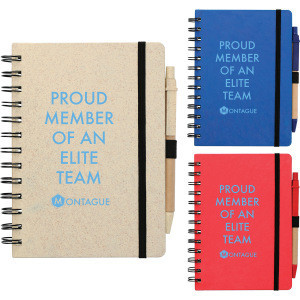 """5"""" x 7"""" Wheat Straw Notebook With Pen and your custom logo print"""