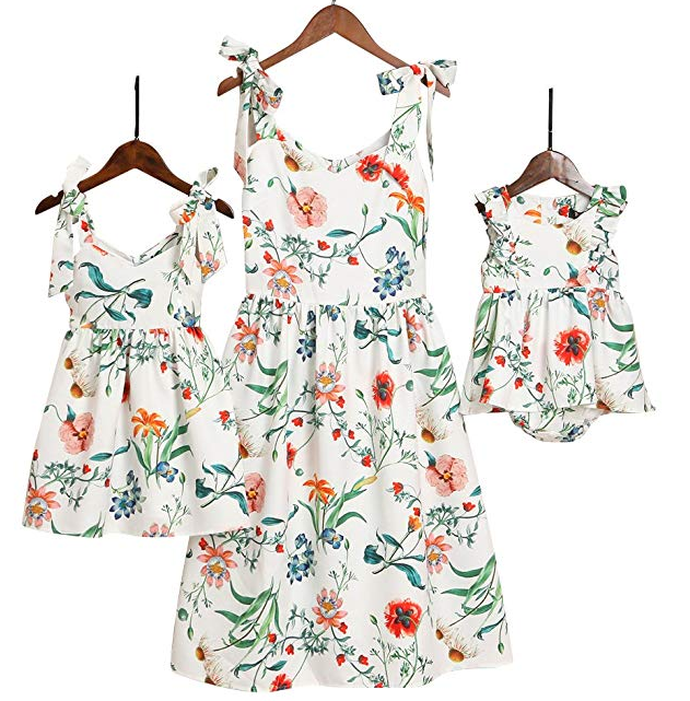 Amazon Hot sale Mommy and Me Floral Printed Dresses Shoulder Straps Bowknot Chiffon Sleeveless Beach Mini Sundress