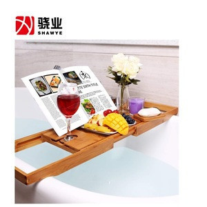 Bamboo adjustable bathroom tray bathroom rack bathtub tray