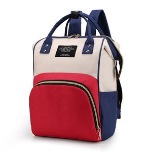 Color printed baby diaper bag with changing pad baby diaper changing bag with shoulder