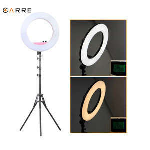 Custom 18 inch 3200K-5600K photography led ring light makeup with mirror