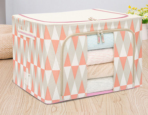 Foldable polyester fabric nylon oxford clothing storage box for home storage