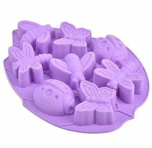 Food grade insect butterfly dragonfly muliti shapes 3d silicone molds for microwave cake