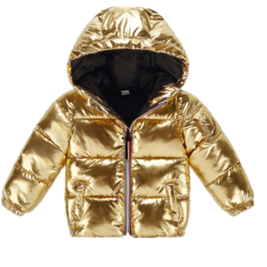 Girls Wholesale Custom Baby Children Down Bomber Jackets Silver Kids Winter Hooded Jacket