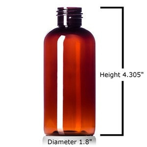 Plastic Bottles Amber 4 Oz PET Boston Round Empty bottle with Hand Press Smooth Black Disc Flip Caps Tops Lids