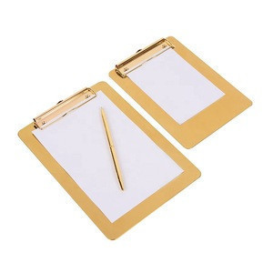 Popular fashionable office stationery stainless steel clipboards metal clipboard for paperwork and report sheet
